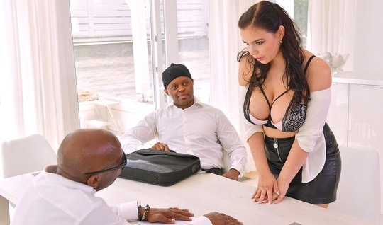 Negroes in two cocks pound a busty brunette in the office and pour spe...