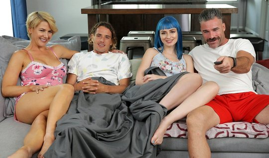 Cute swingers on a gray couch enjoyed a hot gangbang and sweet cum...