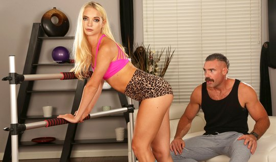 Mustachioed hunk spins tanned blonde for an anal adventure in the gym...