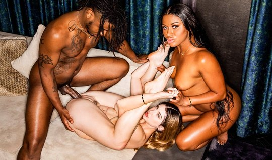 A black man with a mulatto gave a white busty girl a group fuck on the...