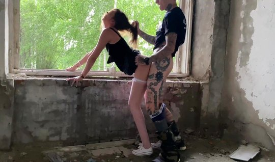 Russian couple films homework sex in an abandoned building doggy style...