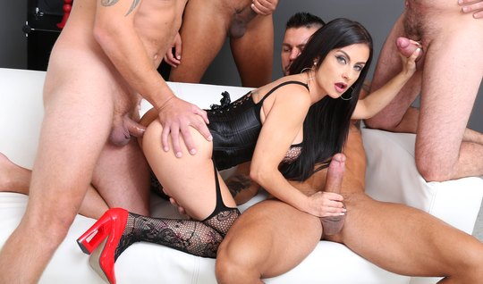 Tattooed girl handles DP and hardcore orgy with soccer team...