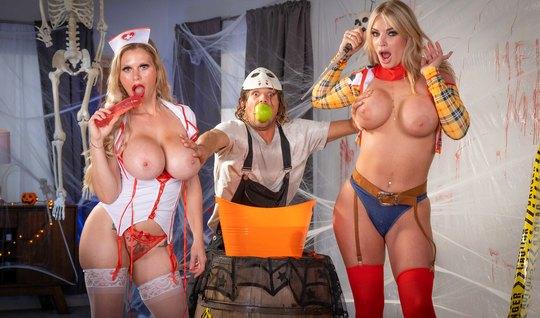 Moms show big tits at a party and want a hard gangbang