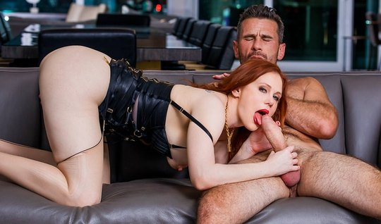Redhead puts holes under the shaved penis of a muscular gray-haired st...