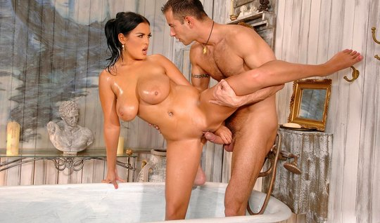 In the bathroom, a huge dick pounds a woman with big milkings