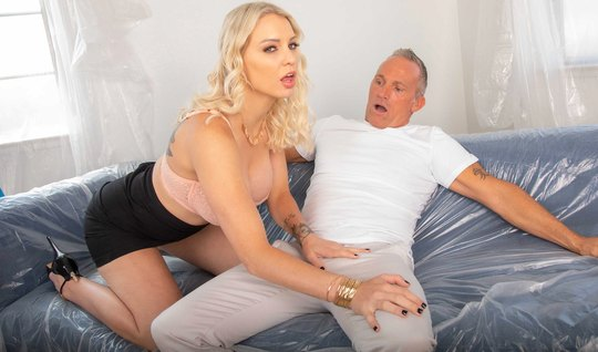 The blonde begins to eagerly suck the gray-haired man a long beautiful...